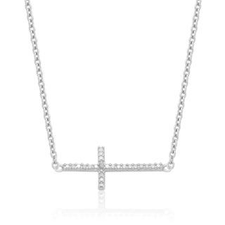 Finesque Diamond Accent Sideways Cross Necklace