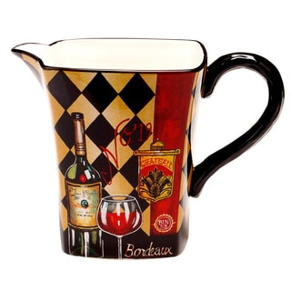 Hand-painted Tasting Room 3-quart Ceramic Pitcher