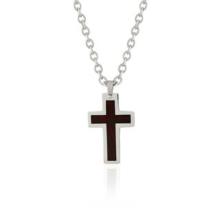 Gravity Stainless Steel Wood Inlay Cross Necklace