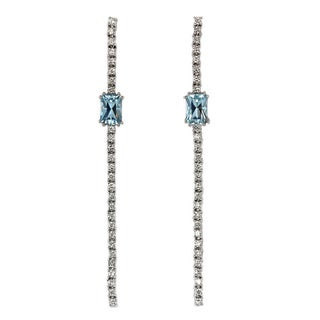 Sonia Bitton 14k White Gold 4/5ct TDW White Diamond Aquamarine Dangle Earrings (G-H, SI1-SI2)