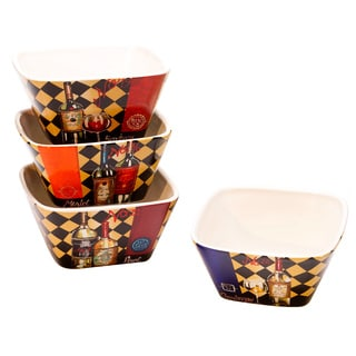 Hand-painted Tasting Room 5.25-inch Assorted Ceramic Ice Cream Bowls (Set of 4)