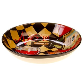 Hand-painted Tasting Room 13-inch Ceramic Serving Bowl