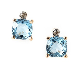 10k Rose Gold Blue Topaz and Diamond Accent Stud Earrings