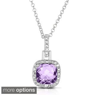 Dolce Giavonna Silver Overlay Cushion Cut Gemstone Necklace