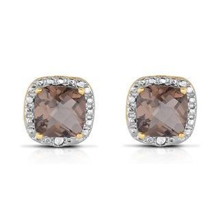 Dolce Giavonna Silverplated Cushion-cut Smokey Quartz Earrings