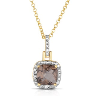 Dolce Giavonna Silverplated Cushion-cut Smokey Quartz Necklace