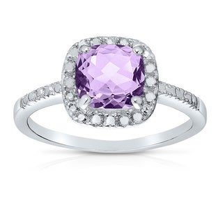 Dolce Giavonna Silver Overlay Cushion Cut Gemstone Cocktail Ring