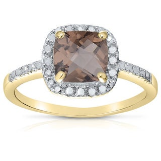 Dolce Giavonna 14k Gold Overlay Cushion-cut Smokey Quartz Cocktail Ring