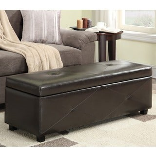 WYNDENHALL York Collection Dark Brown Bonded Leather Storage Ottoman