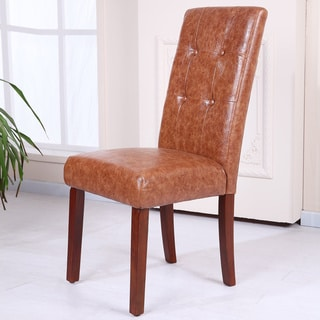 Classic Saddle Faux Leather Tufted Parson Chairs (Set of 2)