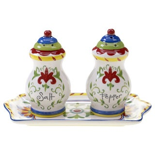 Hand-painted Amalfi 3-piece Ceramic Salt and Pepper Set