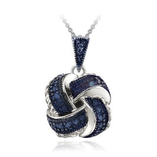 DB Designs Sterling Silver Blue Diamond Accent Love Knot Necklace