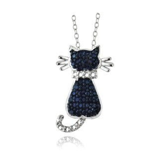 DB Designs Sterling Silver Blue Diamond Accent Cat Necklace