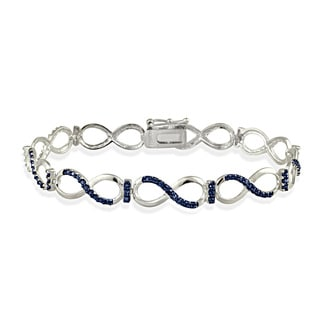 DB Designs Sterling Silver Blue Diamond Accent Infinity Link Bracelet