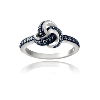 DB Designs Sterling Silver Blue Diamond Accent Love Knot Promise Ring