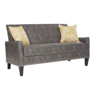 angelo:HOME Charcoal Gray Renu Leather Sutton Sofa