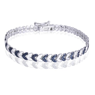 DB Designs Silvertone Blue Diamond Accent Leaf Bracelet