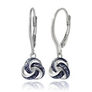 DB Designs Sterling Silver Blue Diamond Accent Love Knot Leverback Earrings