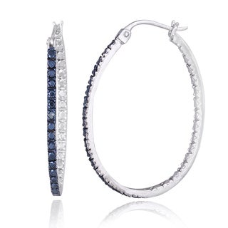Sterling Silver Blue Diamond Oval Hoop Earrings