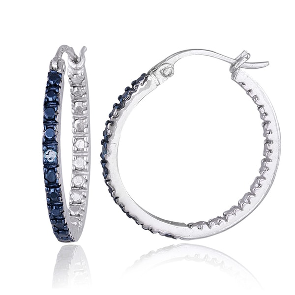 DB Designs Sterling Silver Blue Diamond Accent 20mm Hoop Earrings