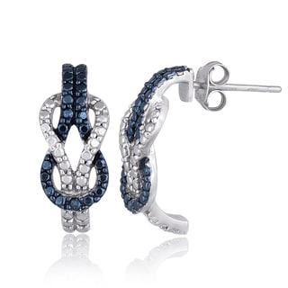 DB Designs Sterling Silver Blue Diamond Accent Love Knot J Style Earrings