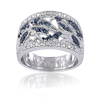 DB Designs Sterling Silver Blue Diamond Accent Leaf Design Ring
