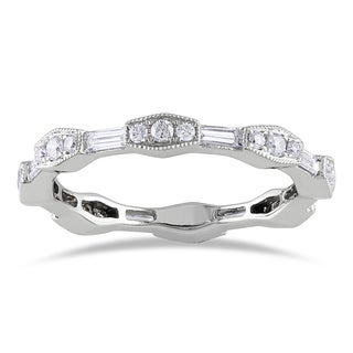 Miadora 14k White Gold 5/8ct TDW Diamond Eternity Ring (G-H, SI1-SI2)