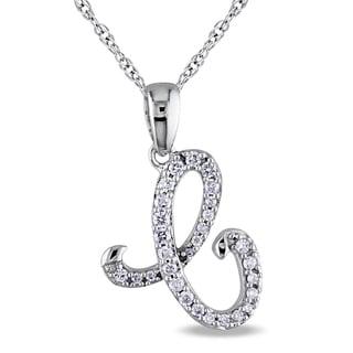 Miadora 10k White Gold Diamond 'E' Initial Necklace