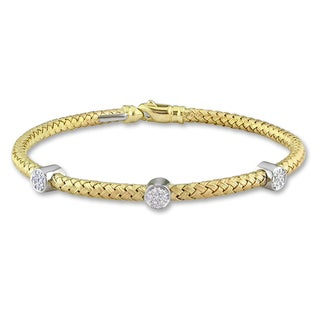 Miadora 14k Yellow Gold 1/10ct TDW Diamond Bracelet (G-H, SI1-SI2)