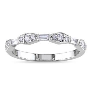 Miadora 14k White Gold 1/3ct TDW Baguette-cut White Diamond Ring (G-H, SI1-SI2)