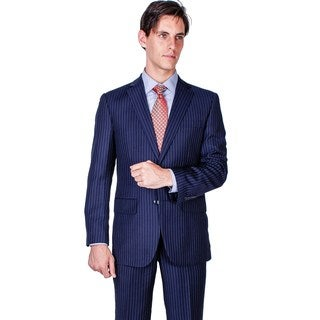 Men's Modern Fit Navy Blue Stripe 2-button Suit