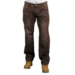 MO7 Men's Brown Modern Straight Fit Fashion Jeans
