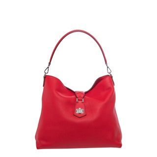 Fendi Poppy Red Leather Clasp-top Hobo Bag