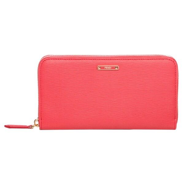 Fendi 'Crayons' Coral Leather Zip-around Wallet
