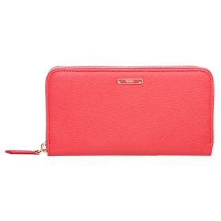 Fendi 'Crayons' Coral Leather Zip-around Wallet