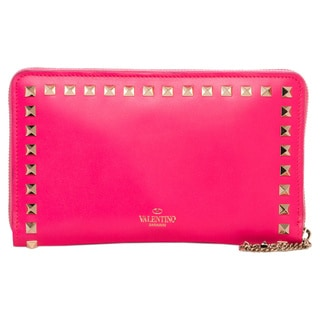 Valentino 'Rockstud' Hot Pink Leather Zip-around Wallet