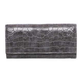 Stella McCartney Grey Croc-embossed Continental Wallet
