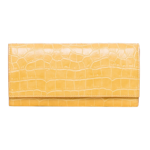 Stella McCartney Yellow Croc-embossed Continental Wallet