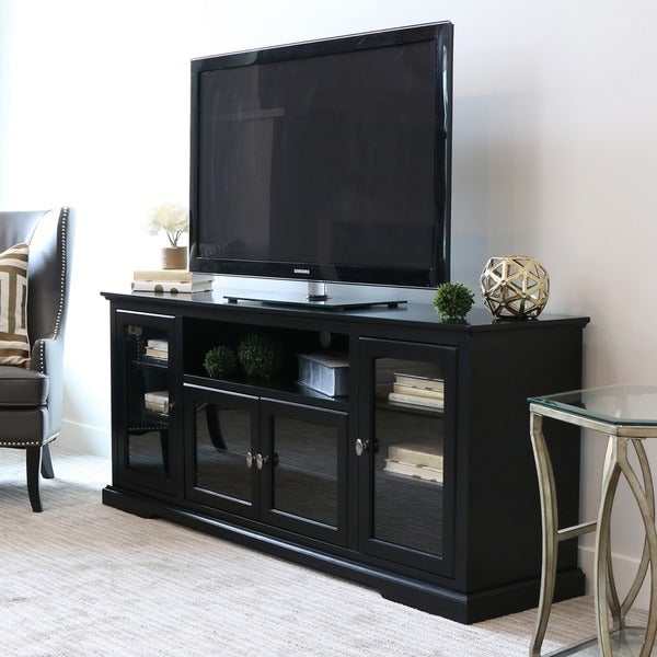 70 inch black wood highboy tv stand 16260496 shopping great deals on. Black Bedroom Furniture Sets. Home Design Ideas