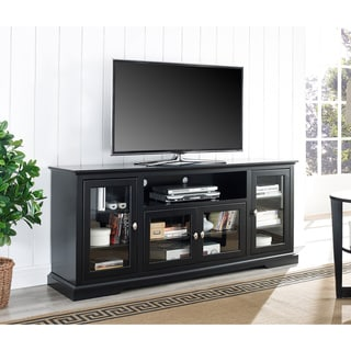 70 inch black wood highboy tv stand overstock shopping great deals on entertainment centers. Black Bedroom Furniture Sets. Home Design Ideas