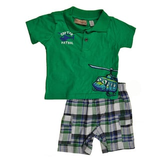 Kids Headquarters Infant Boys' Helicopter 2-piece Polo and Plaid Short Set in Green