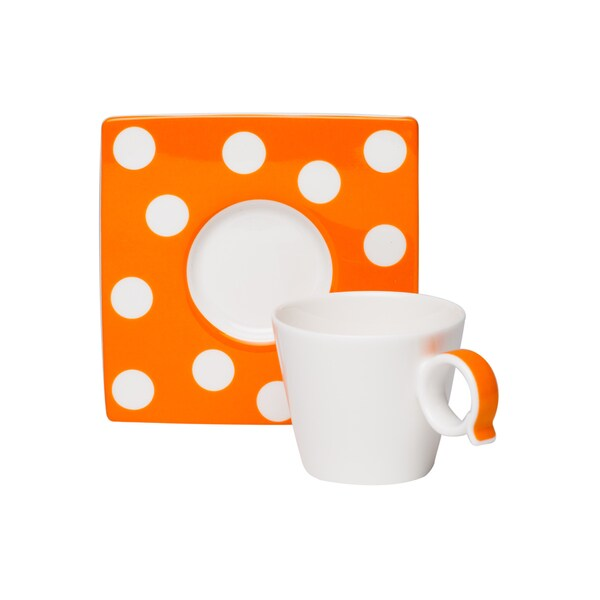 Red Vanilla Freshness Mix & Match Dots Orange Espresso Cup/ Saucer Set (Pack of 6)