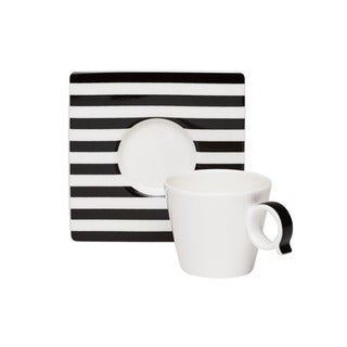 Red Vanilla Freshness Mix & Match Lines Black Espresso Cup/ Saucer Set (Pack of 6)