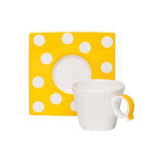 Red Vanilla Freshness Mix & Match Dots Yellow Espresso Cup/ Saucer Set (Pack of 6)