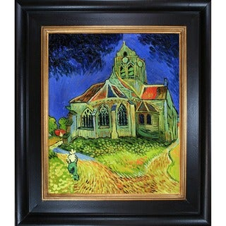 Vincent Van Gogh' The Church at Auvers' Hand Painted Framed Canvas Art