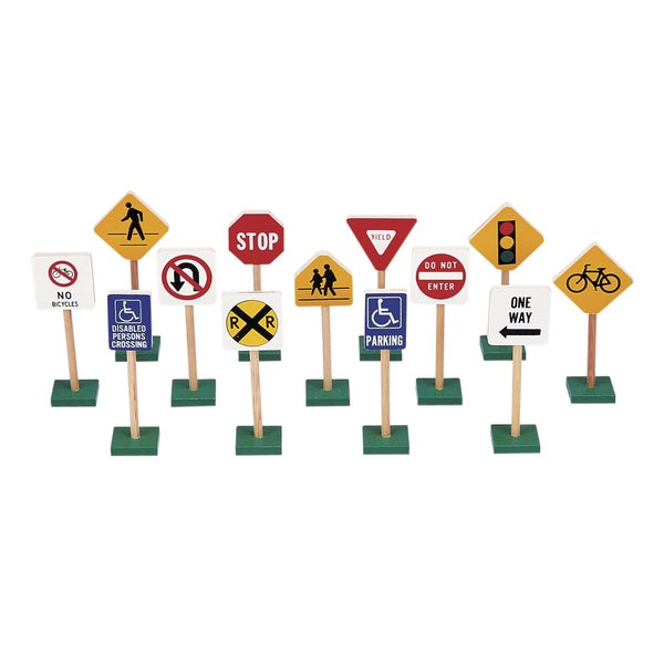 Guidecraft 7-inch Block Play Traffic Signs