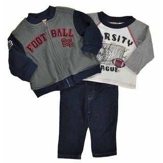 Kids Headquarters Boys' Micro Fleece 3-piece Set in Grey