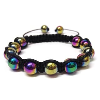 Rainbow Hematite Macrame Bracelet