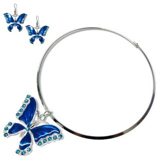Blue Acrylic Butterfly Choker Necklace and Earring Set