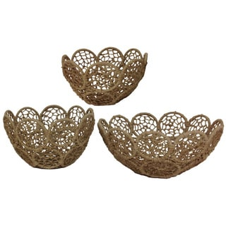 Jute Rope Baskets with Iron Frames (Set of 3)